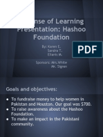 Defense of Learning Presentation - Hashoo Foundation - Senior Capstone International Project