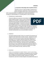 Jornada de análisis y propuesta en Psicología sobre el petitorio interno. 16/05/2013