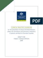 Draft Guideline on Prevention of Vte for Public Consultation