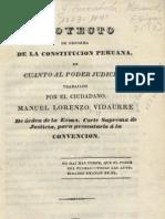 Manuel Lorenzo Vidaurre. Proyecto de reforma de la Constitución Peruana en cuanto al Poder Judicial... Lima, 1833.