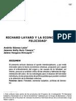 Richard Layard y La Economia de La Felicidad