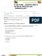 CONTROL DE LECTURA ALICIA EN EL PAÍS DE LAS MARAVILLAS