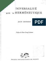 L Universalite de l Hermeneutique Grondin Ocr