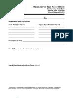data analysis team record sheet