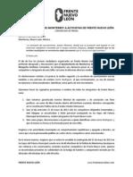 Frente Nuevo León - Comunicado Margarita Arellanes
