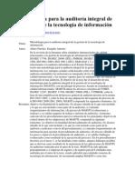 Metodología para la auditoría integral de la gestión de la tecnología de información