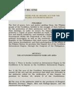 RA 6766- Providing an Organic Act for the Cordillera Autonomous Region