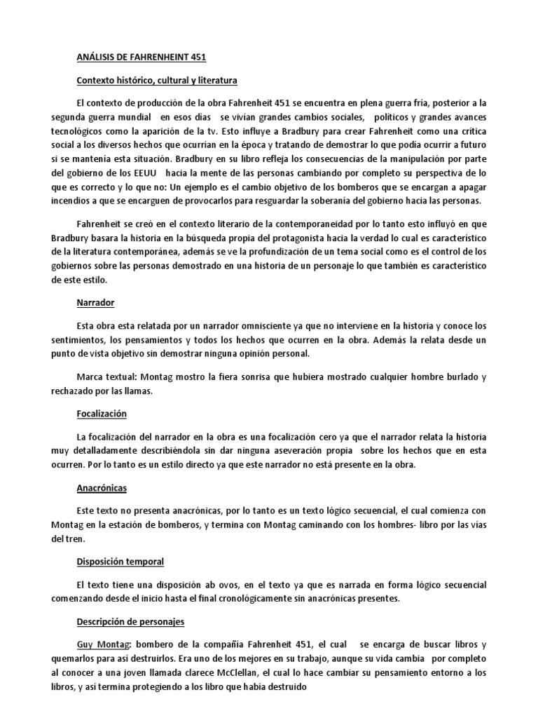Análisis De Fahrenheint 451 Docx Narración Science
