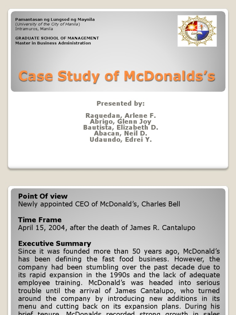 mcdonalds corporation case study marketing Market during the writing of my thesis, i used case-study research the topic is based on scientific studies of leading russian and foreign scientists and experts in the field of strategic management i described what the situation of the mcdonalds corporation in the russian fast food market, did risk assessment, pest and.