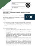 Scolarisation des élèves de langue étrangère. Recommandations de la Conférence suisse des directeurs cantonaux de l'instruction publique