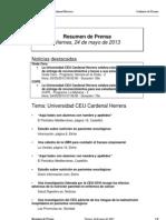 Resumen Prensa CEU-UCH 24-05-2013