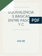 EQUIVALENCIAS BÁSICAS ENTRE PASCAL Y C