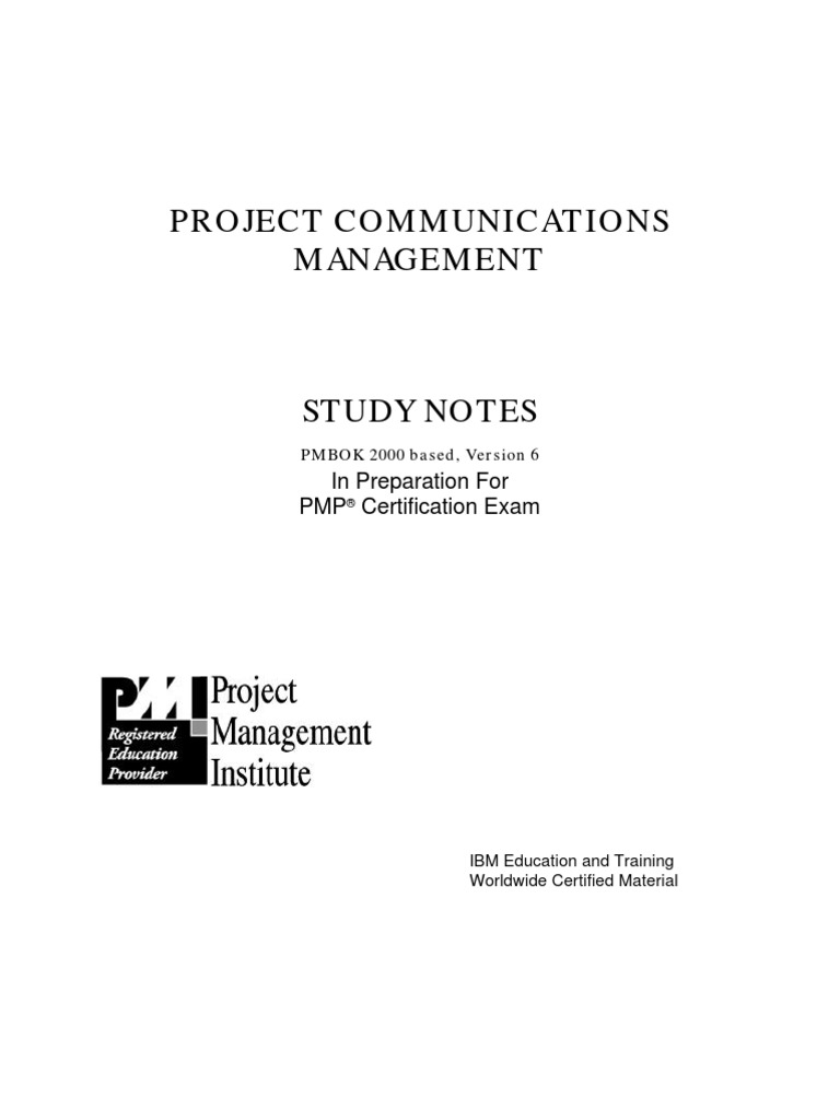 Pmi Pmp Exam Preparation Study Guide Project Communication