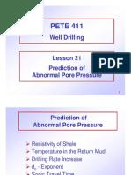 Abnormal Pore Pressure Prediction