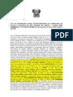 ATA DA ASSEMBLÉIA GERAL EXTRAORDINÁRIA DA COMPANHIA DE ÁGUAS E ESGOTOS DO RIO GRANDE DO NORTE REFERENTE RECURSOS SAMENAMENTO BÁSICO