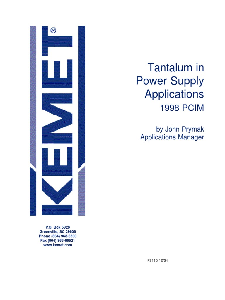 Tantalum In Power Supply Applications Capacitor Physical Quantities Multiple Anode