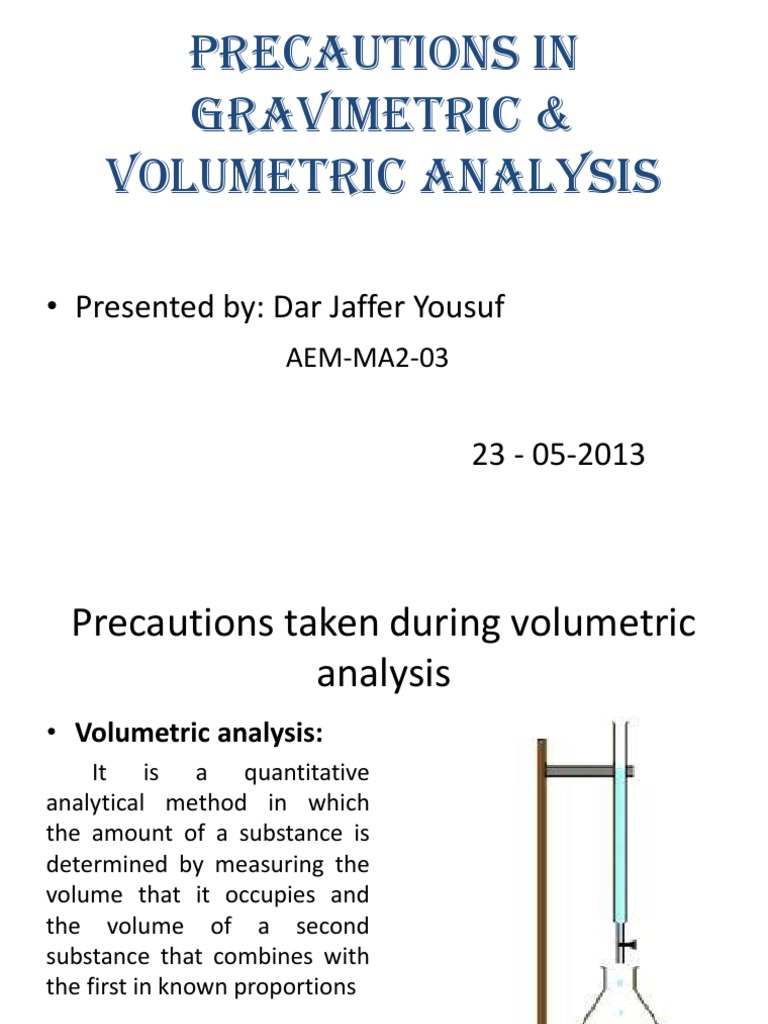 volumetric analysis Volumetric (titrimetric) analysis general principles in titrimetric analysis volumetrically measures the amount of reagent, often called a titrant, required to complete a chemical reaction.
