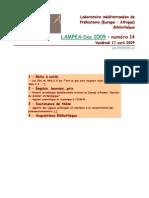 LAMPEA-Doc 2009 – numéro 14 / Vendredi 17 avril 2009