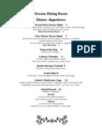 Ocean View Hotel 2013 Dinner Menu