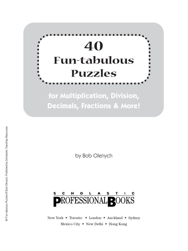 40 Fun-Tabulous Math Puzzles | Fraction (Mathematics) | Division ...