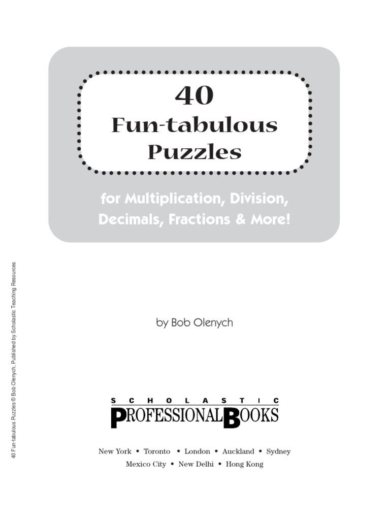 40 Fun Tabulous Math Puzzles Fraction Mathematics Division