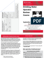 Drinking Water Operator Review Training Course at Rutgers – September 2013