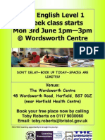 Level 1 English Class for adults at Wordsworth Centre