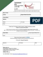 LSE Tournament Entry Form 2013