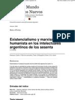 Existencialismo y Marxismo Humanista en Los Intelectuales Argentinos de Los Sesenta