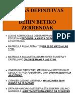 LISTAS DEFINITIVAS OSTADAR HAUR ESKOLA 2013-14