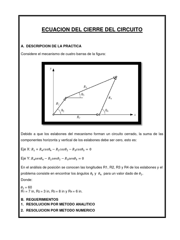 Circuito X : Ecuacion del cierre del circuito