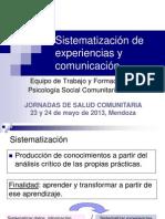 Sistematización de experiencias y comunicación