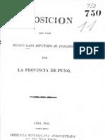 Benito Laso. Esposición que hace Benito Laso diputado al Congreso por la provincia de Puno. Lima, 1826.