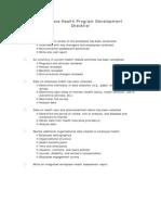 Workforce Health Program Development Checklist