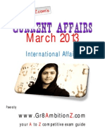 March Month Current Affairs - International