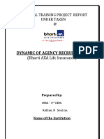 Dynamics of Agency Recruitment Insurnace Sector1