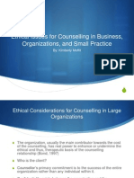 Ethical Issues for Counselling in Business, Organizations, and Small Practice