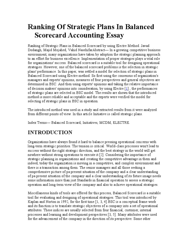 Advanced English Essays Ranking Of Strategic Plans In Balanced Scorecard Accounting Essay   Strategic Planning  Strategic Management Custom Term Papers And Essays also Thesis For Narrative Essay Ranking Of Strategic Plans In Balanced Scorecard Accounting Essay  Essays On Science And Technology
