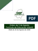 Orden de 5 de Agosto de 2008 - Curriculo para Educación Infantil  en Anadalucia