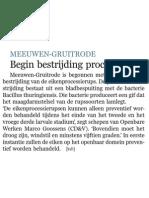 Artikel De Standaard 11/05/2013 - Begin bestrijding processierups