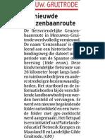 Artikel Het Laatste Nieuws 03/05/2013 - Vernieuwing Geuzenbaanroute