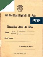 Scuola Artiglieria - Raccolta Dati Di Tiro - 1942