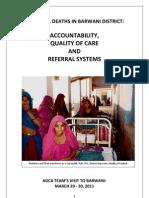 Maternal Deaths in Barwani District-AGCA Visit Report-Final