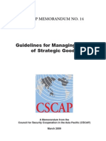 CSCAP Memo No. 14 - Guidelines for Managing Trade of Strategic Goods