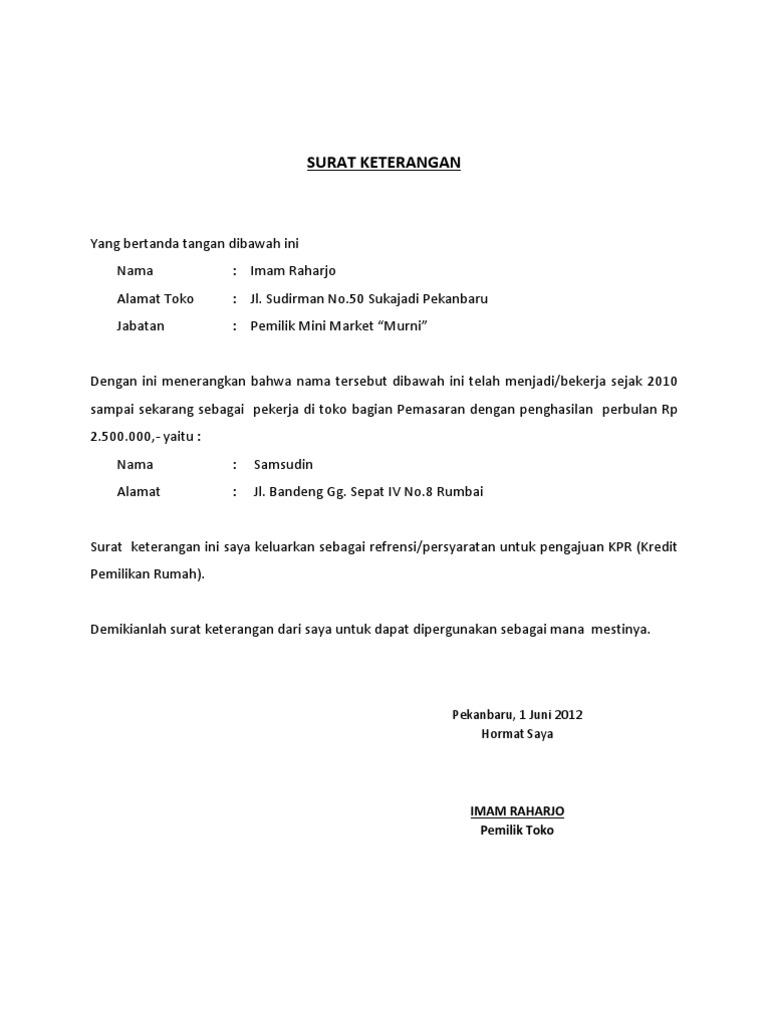 Contoh Surat Keterangan Perusahaan Untuk Kpr