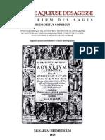 [Alchimie] Hydrolitus Sophicus - La Pierre Aqueuse de Sagesse Ou Aquarium Des Sages
