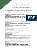 Criterios para el análisis de actividades de léxico