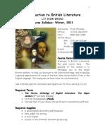 Syllabus - Introduction to British Literature