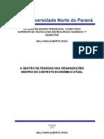 A GESTÃO DE PESSOAS NAS ORGANIZAÇÕES DENTRO DO CONTEXTO ECONÔMICO ATUAL WILLYANN A. RIGO - COLATINA - ES 2012