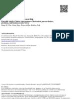 Chu, H. M., O. Kara, Et Al. Chinese Entrepreneurs Motivations, Success Factors, Problems, And Business-related Stress.
